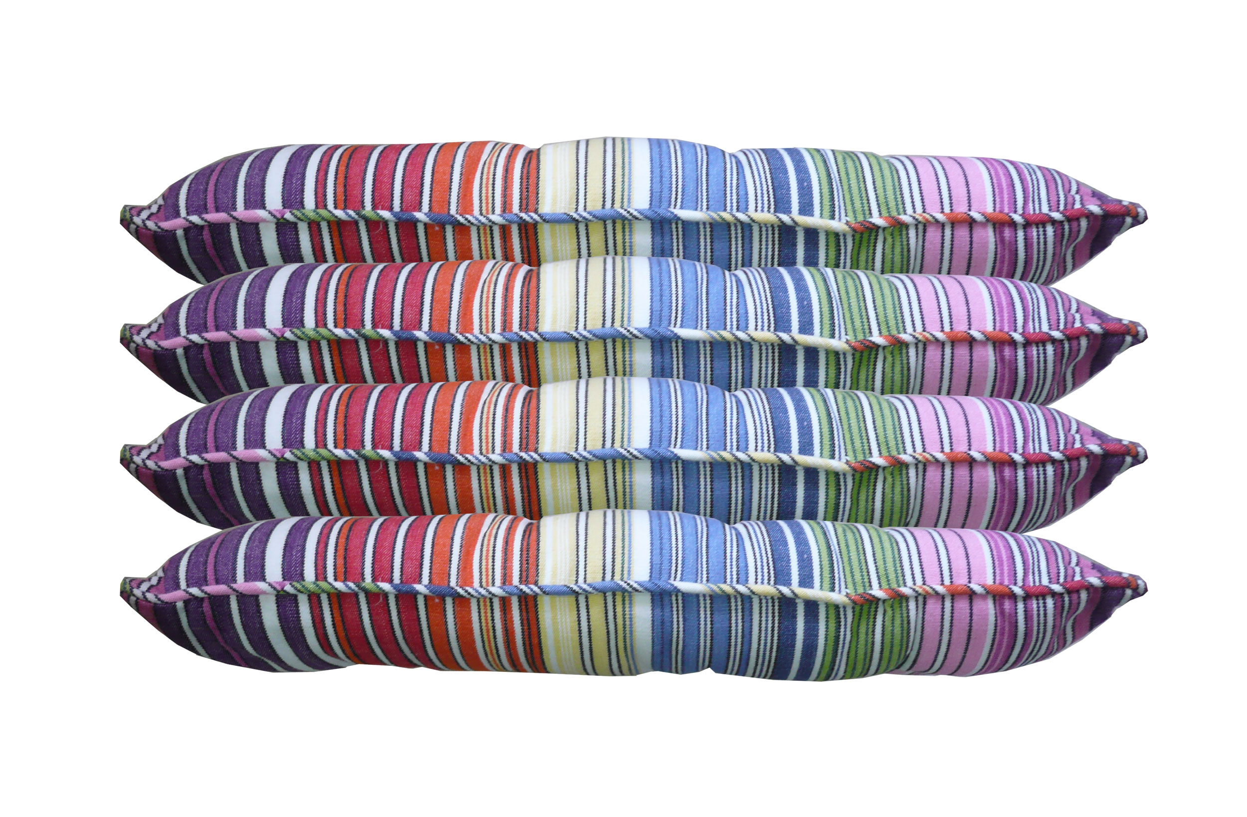 narrow rainbow multi stripe, white- Striped Seat Pads with Piping