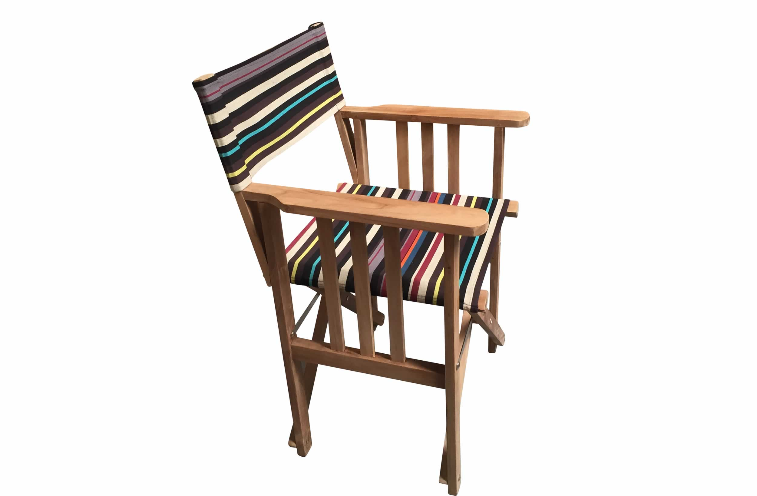 Teak Directors Chair - Shooting Stripe