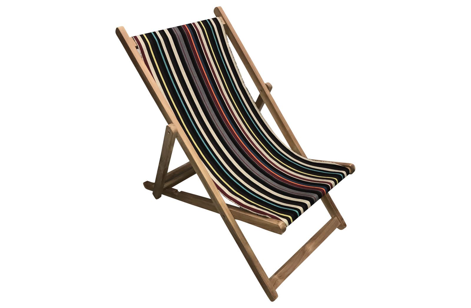 Black Deckchairs | Wooden Deck Chairs with Black Striped Deckchair Sling - Shooting Stripe