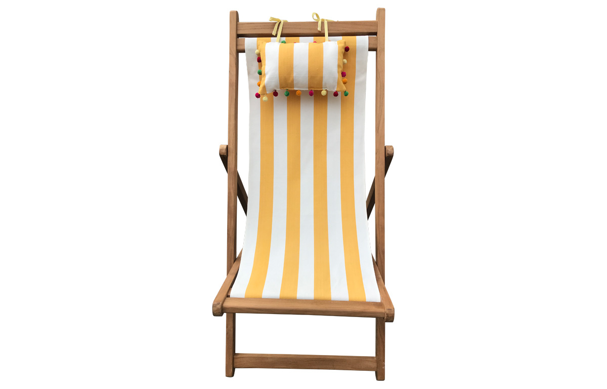 Yellow and White Stripe Teak Deckchair with Headrest and Pockets