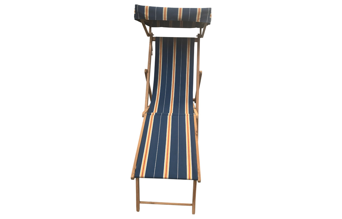 Navy blue, off white, gold - Edwardian Deckchairs with Canopy and Footstool