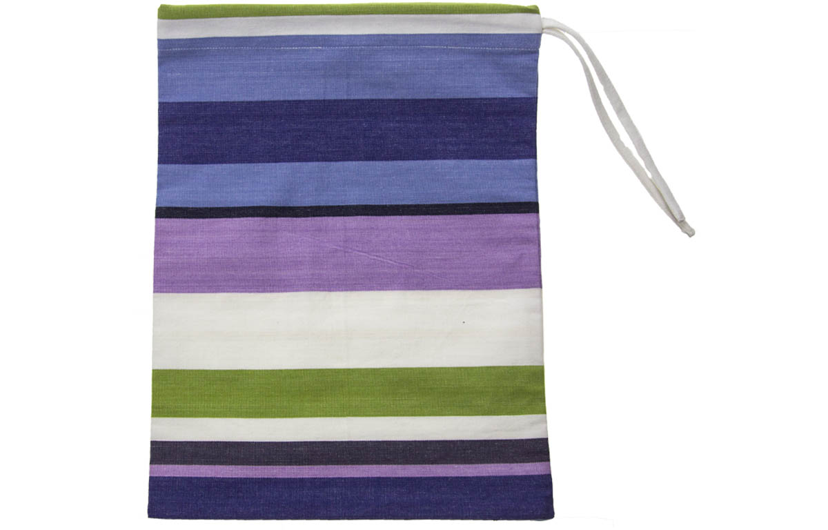 Drawstring Shoe Bags | Striped Shoe Bags green, blue, purple