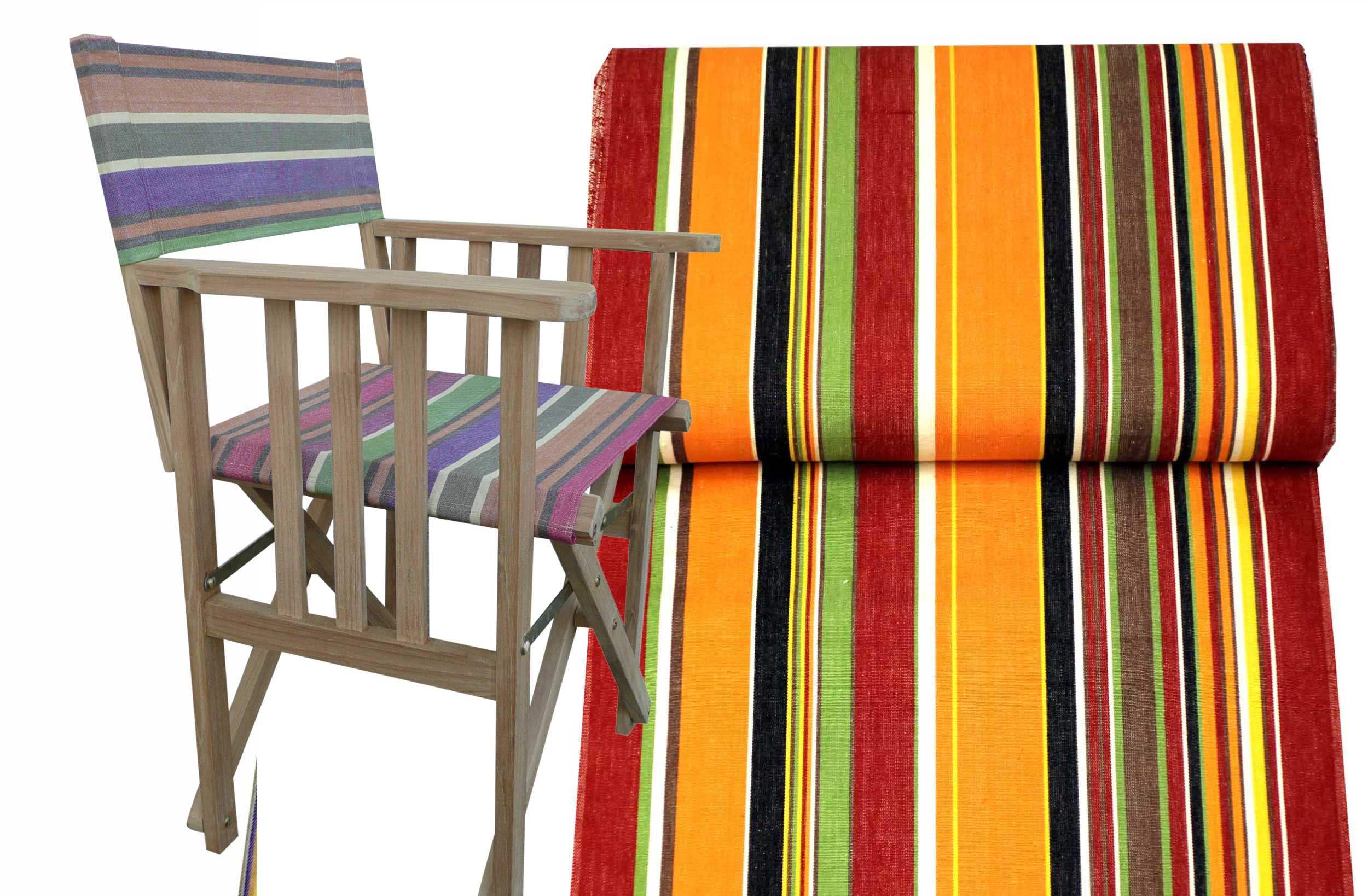 Teak Directors Chair - Skipping Stripe