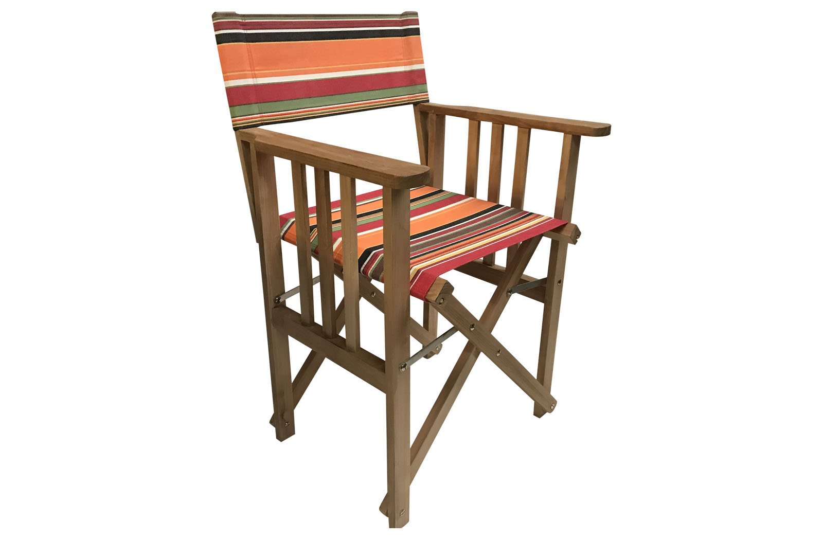 Retro Orange Stripe Teak Directors Chair - Skipping Stripe