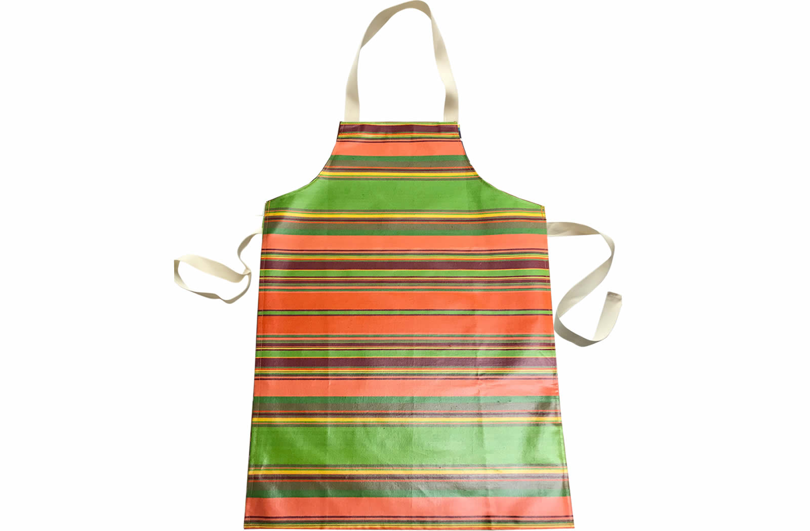 Coral Striped PVC Kids Aprons | Oilcloth Aprons for Children Coral  Bright Green  Terracotta  Stripes