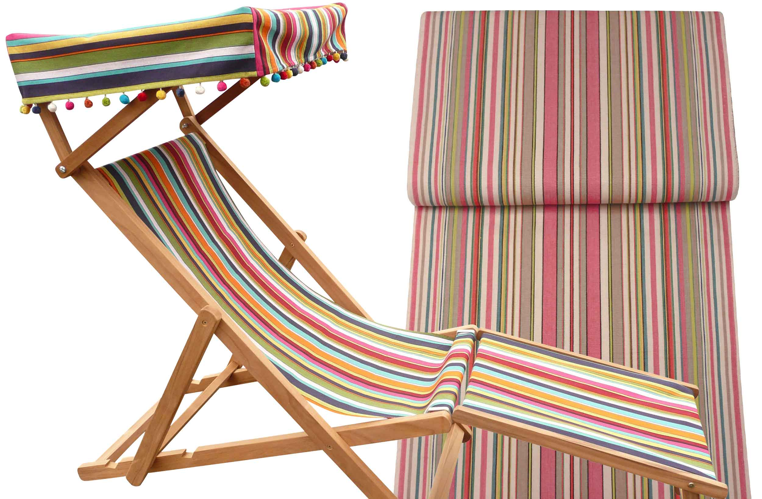 Edwardian Deckchairs with Canopy and Footstool coral, sand, cream