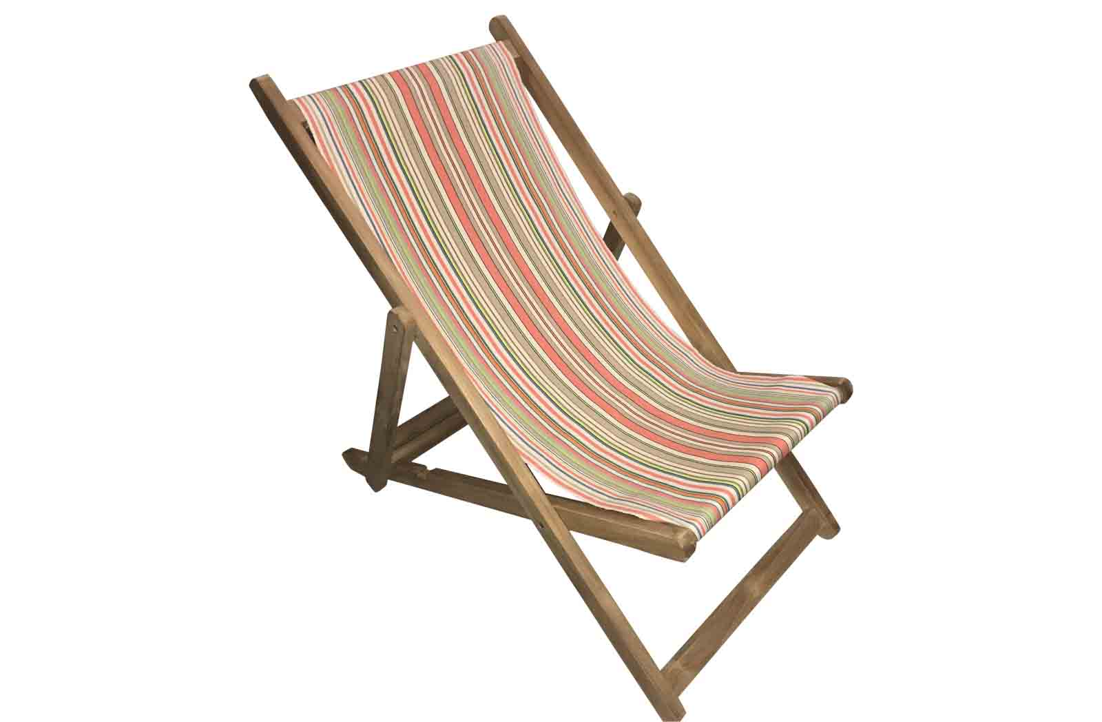 Pretty Coral Stripe Deckchair | Wooden Folding Deck Chairs Vintage Look Stripes