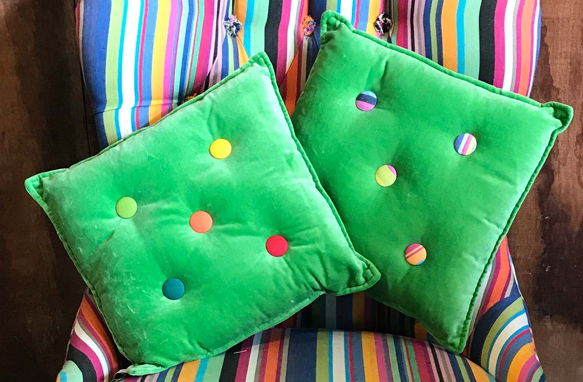 Small Green Velvet Cushions Stripe Buttons