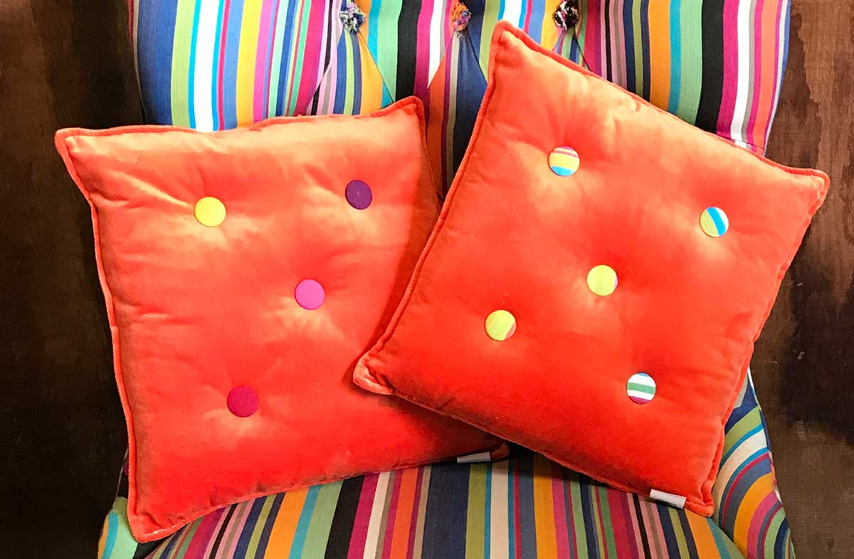 Small Orange Velvet Cushions Stripe Buttons