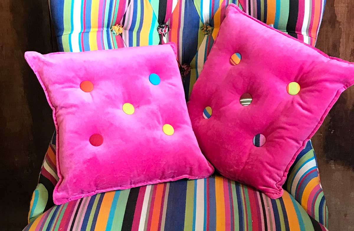 Small Pink Velvet Cushions Plain Buttons