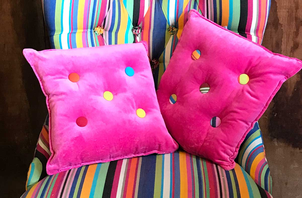 Small Pink Velvet Cushions Stripe Buttons