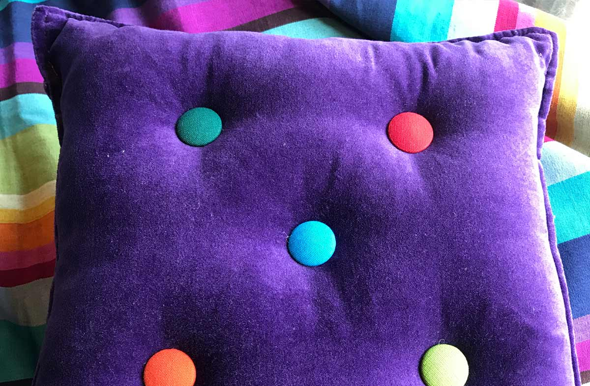 Small Purple Velvet Cushions Plain Buttons