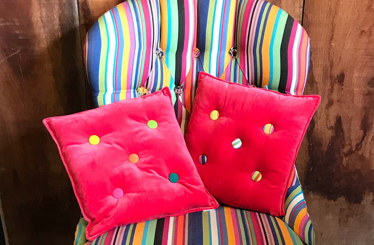 Small Coral Red Velvet Cushions Plain Buttons