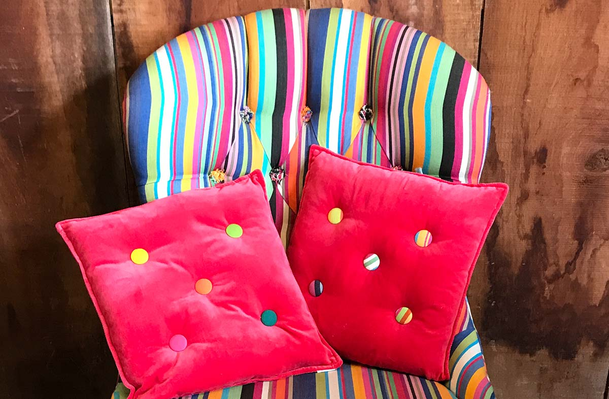 Small Red Velvet Cushions Stripe Buttons