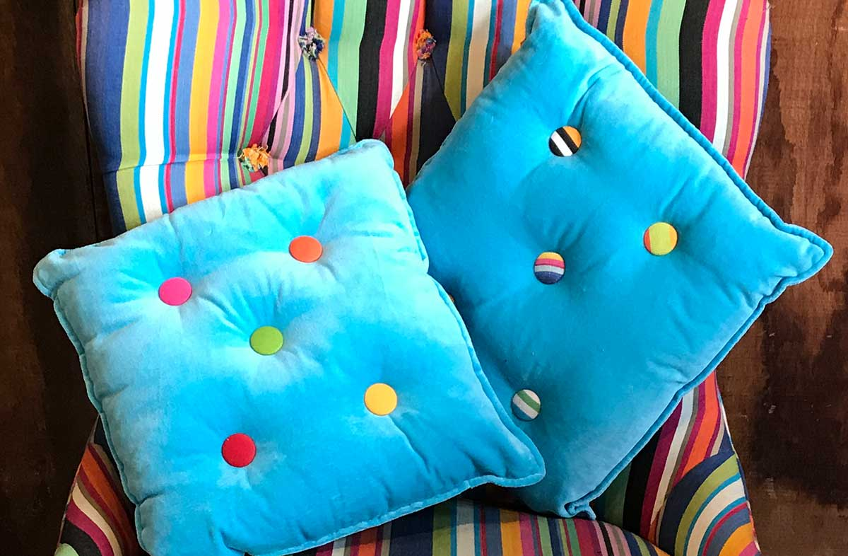 Small Turquoise Velvet Cushions Stripe Buttons