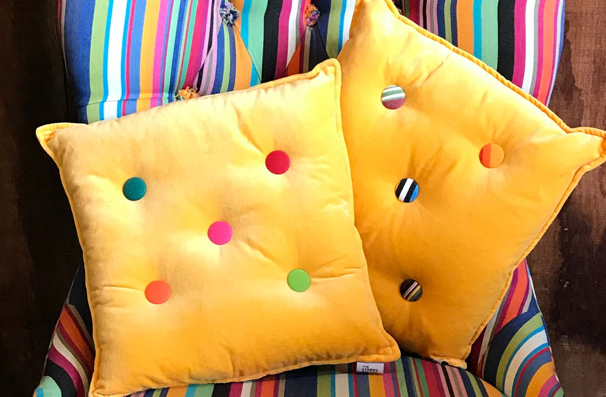 Small Yellow Velvet Cushions Stripe Buttons