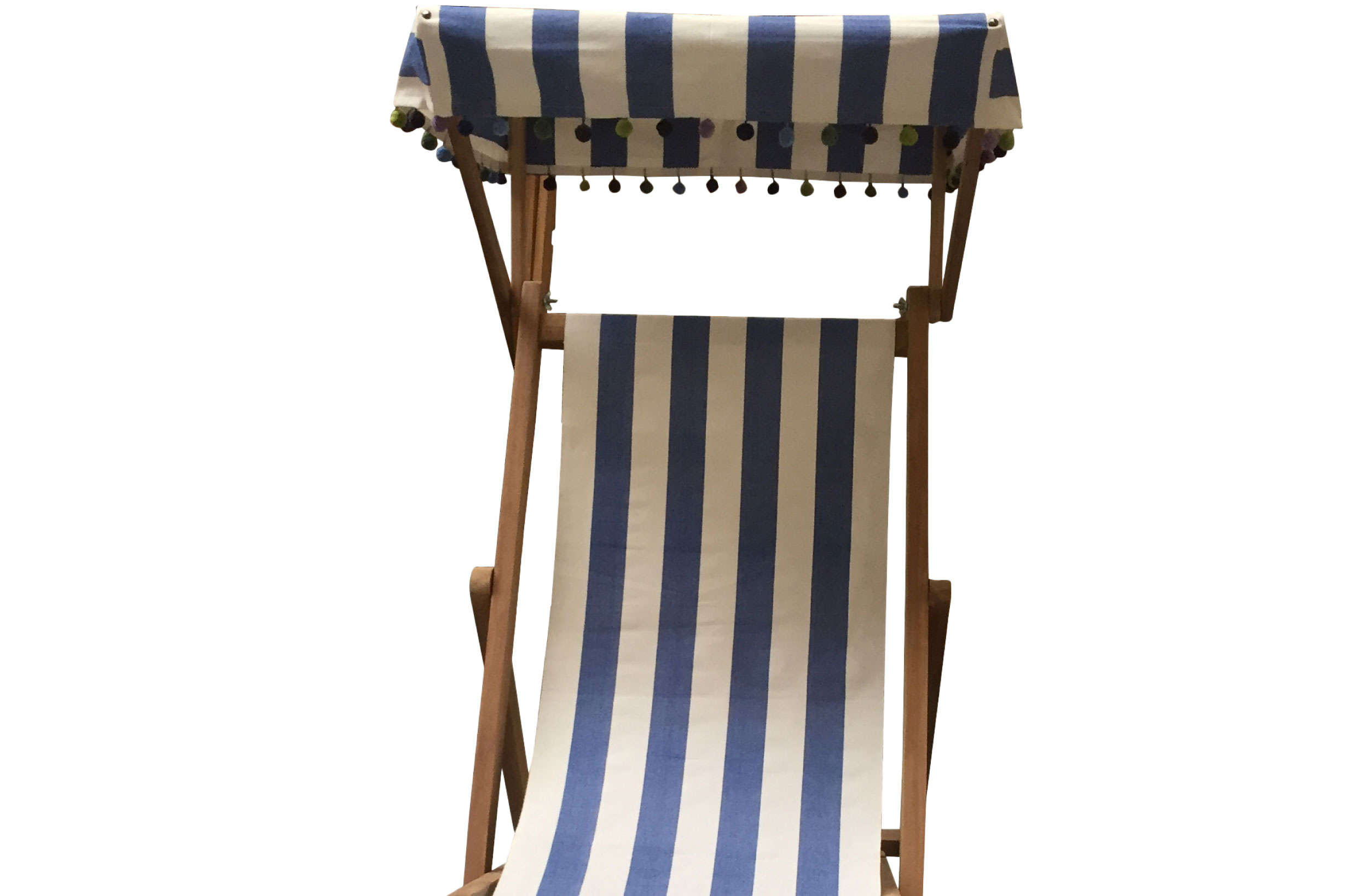 blue, white- Edwardian Deckchairs with Canopy and Footstool