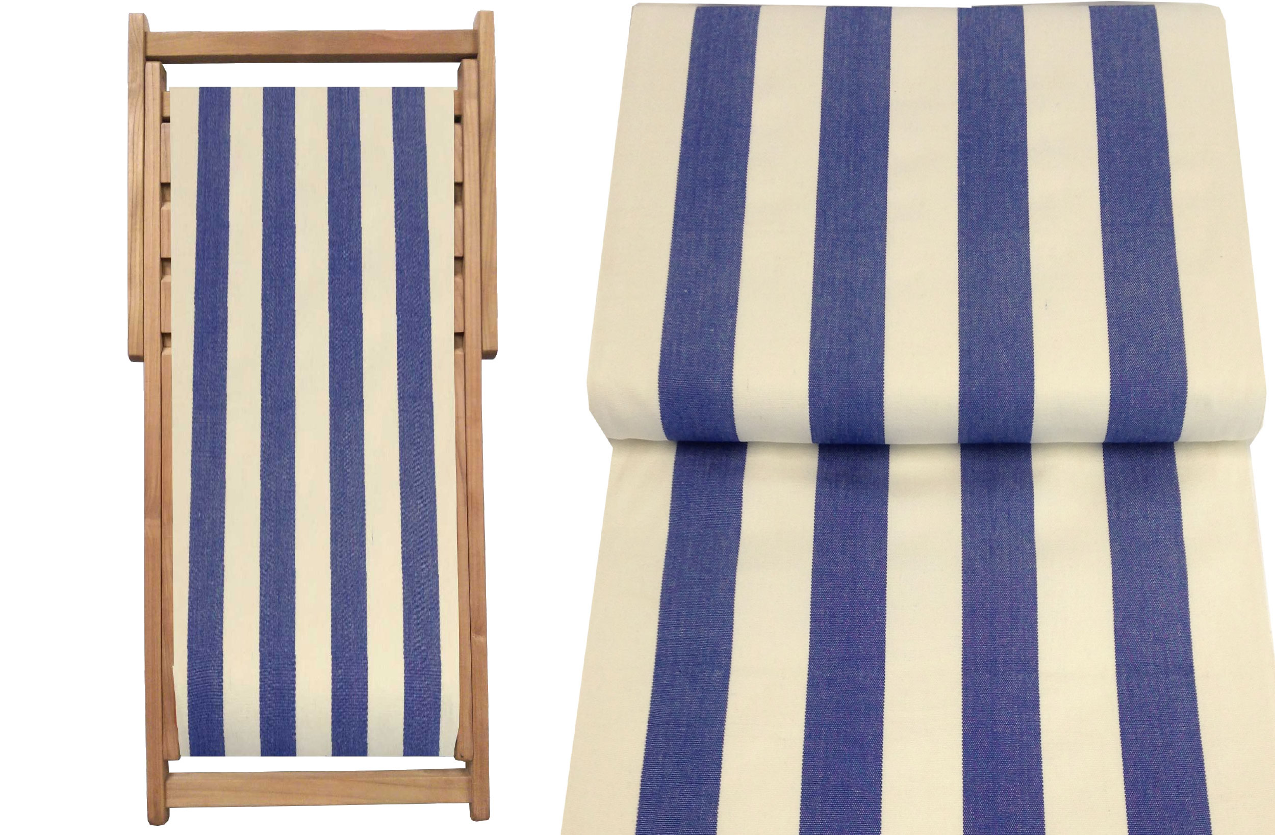 Teak Deck Chairs blue, white stripes