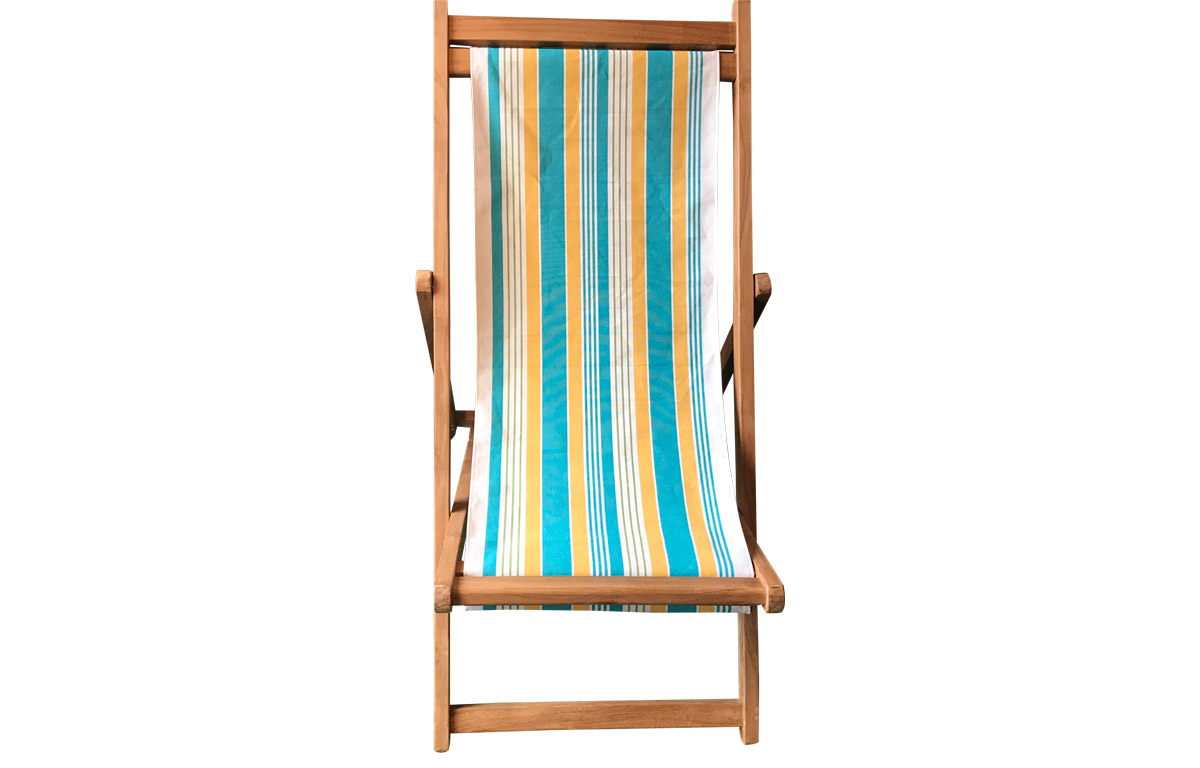 Turquoise White Yellow Stripe Premium Deck Chair