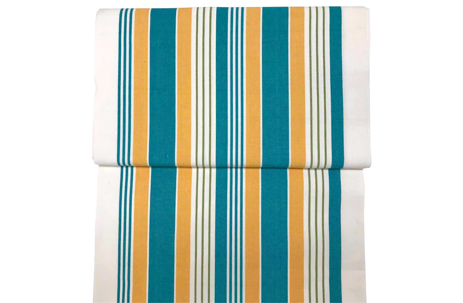 White, Turquoise, Yellow Striped Directors Chair Covers | Replacement Covers - Softball Stripe
