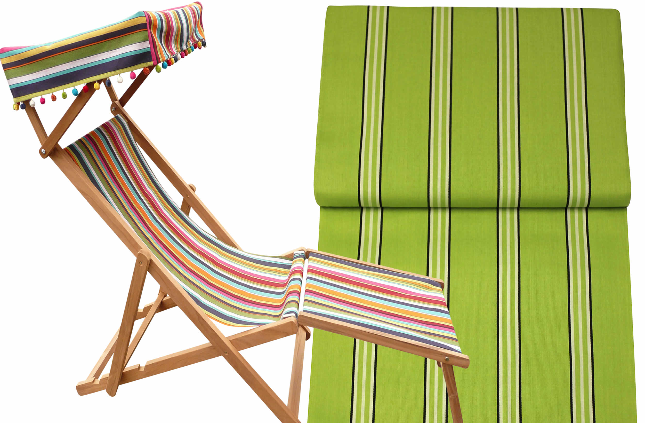 Edwardian Deckchairs with Canopy and Footstool lime, white, black