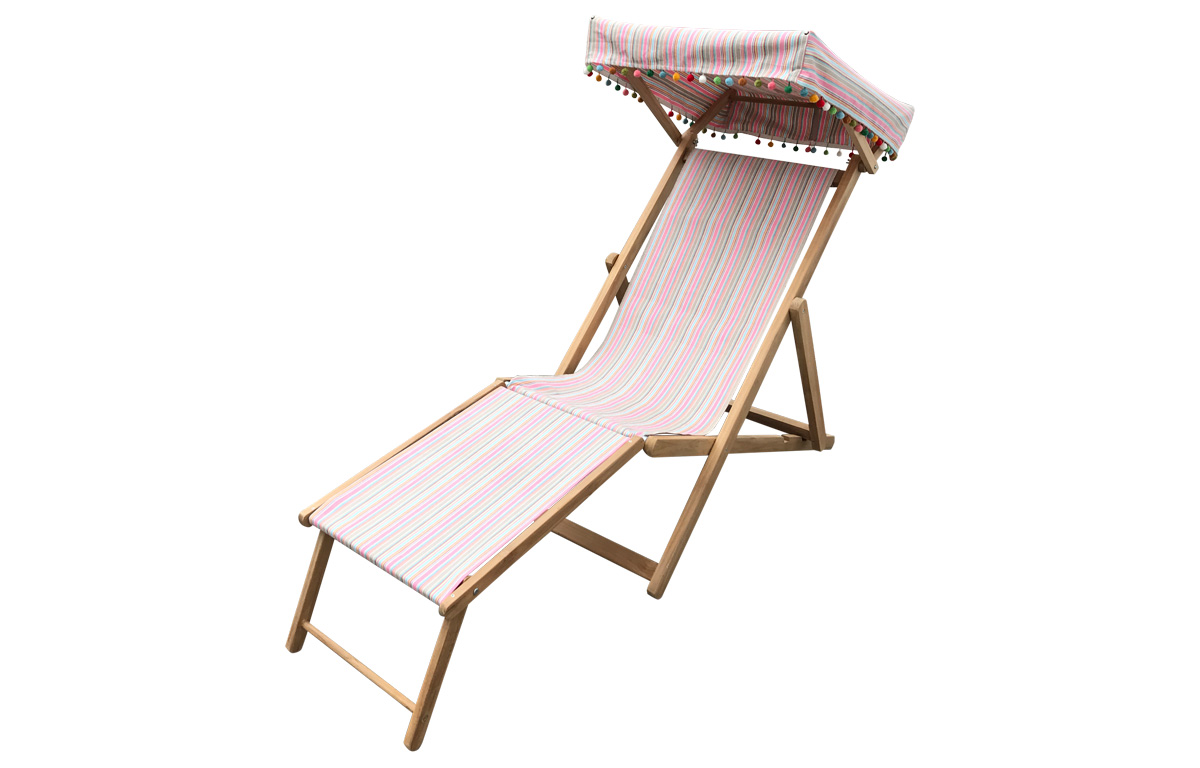 pink, taupe, blue - Edwardian Deckchairs with Canopy and Footstool