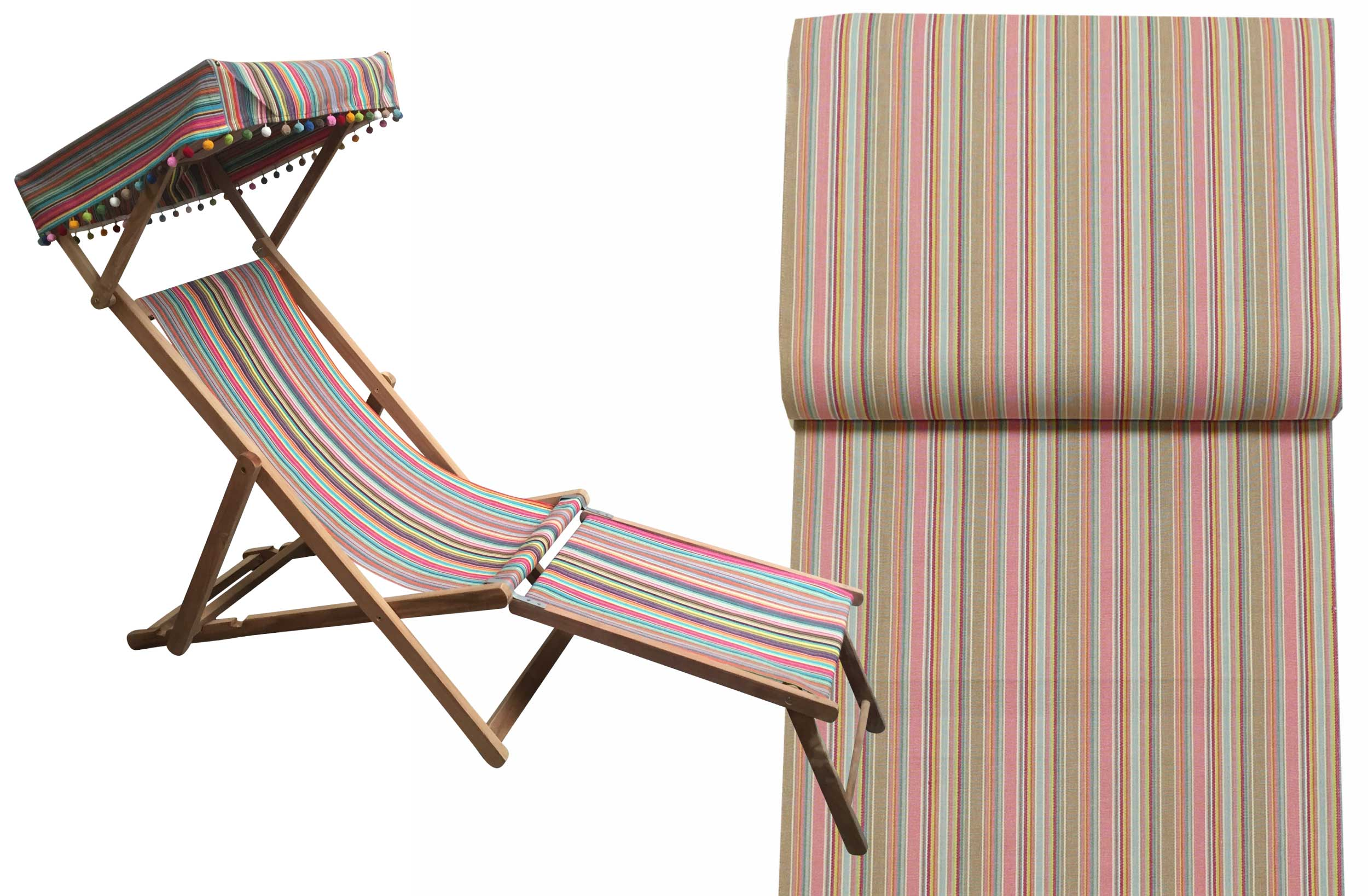 Pink and Beige Stripe Deckchair with Canopy and Footstool