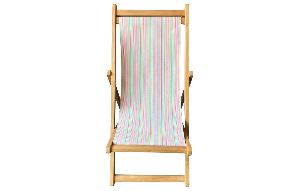 Teak Deck Chairs pink, taupe, blue pin stripes