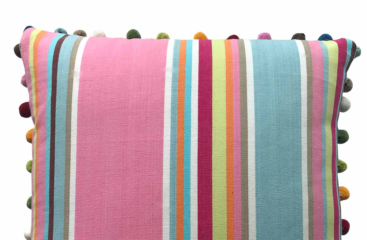Pink, taupe, blue - 50x50cm Striped Pompom Cushions