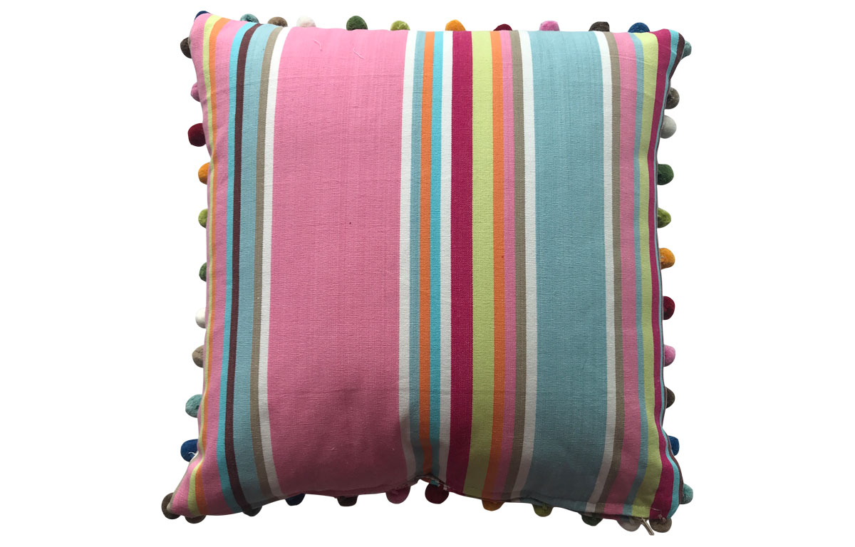 Pink, Taupe and Blue Striped Pompom Cushions 50x50cm
