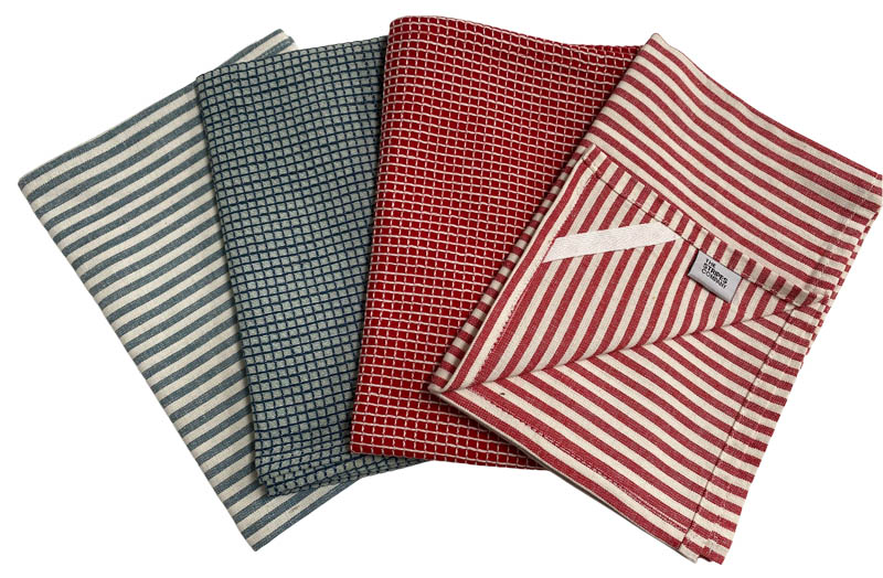 Teal and Red Stripe Check Tea Towel Set | Set of 4 Tea Towels