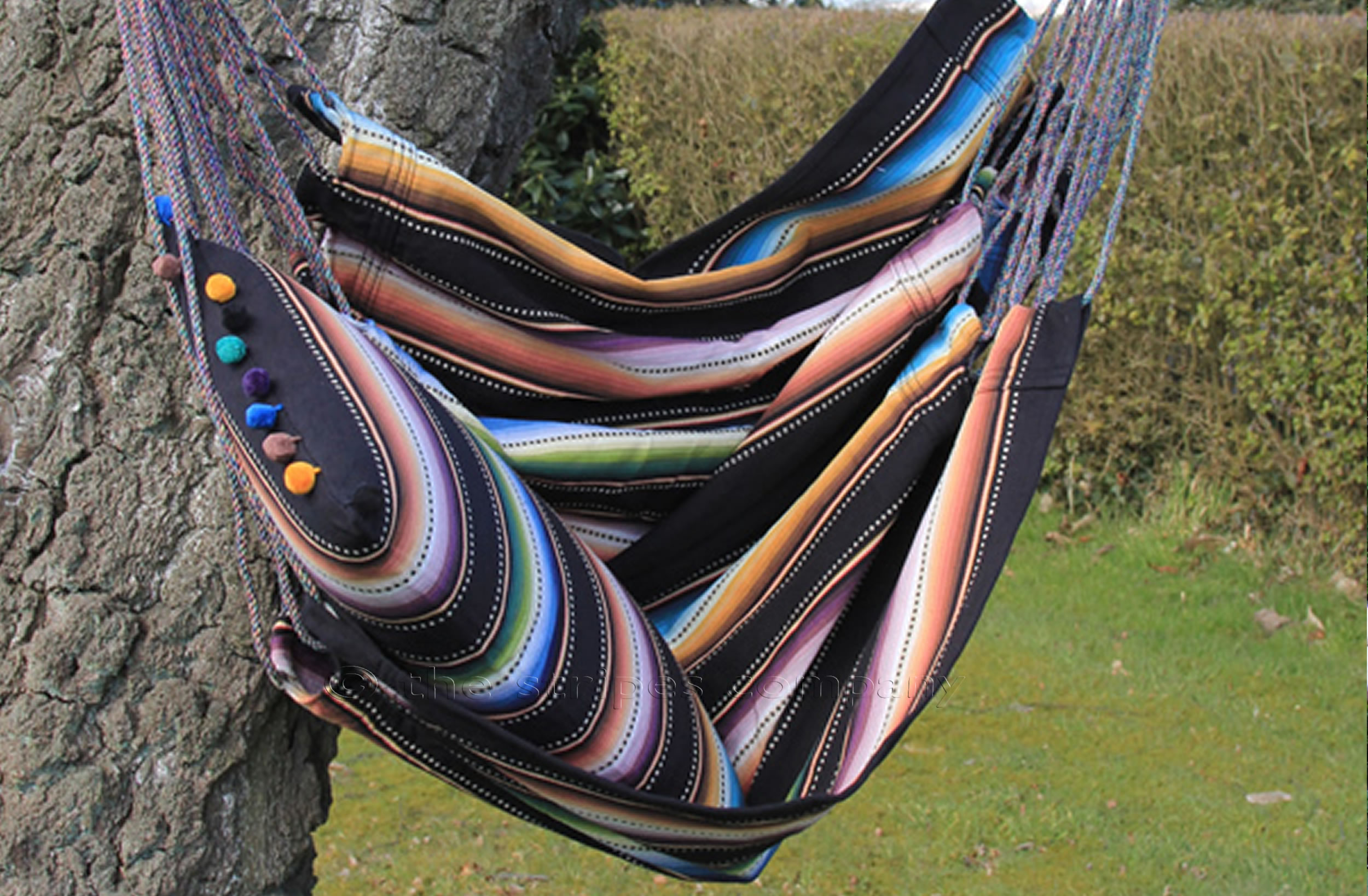 Black Turquoise White  Hanging Hammock Chairs in Striped Fabric Sack Race Stripes