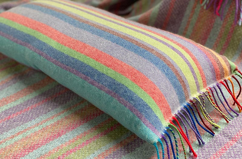Rainbow Stripe Rectangular Cushion in Soft Merino Wool
