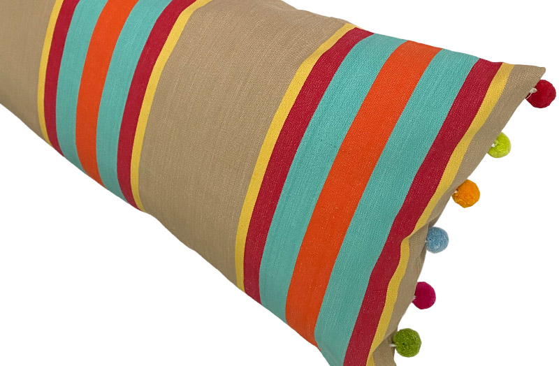 Fawn, terracotta, turquoise - Striped Oblong Cushions with Bobble Fringe