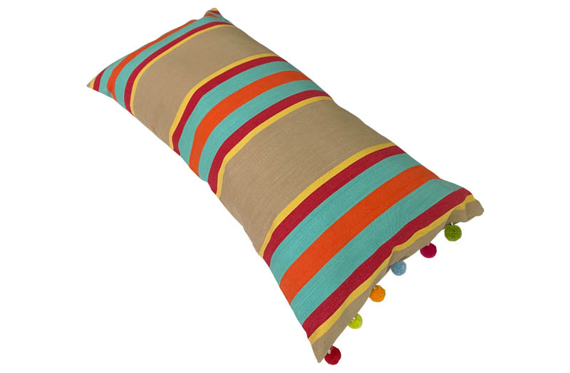 Striped Oblong Cushions with Bobble Fringe in Sand, Terracotta, Turquoise Stripes