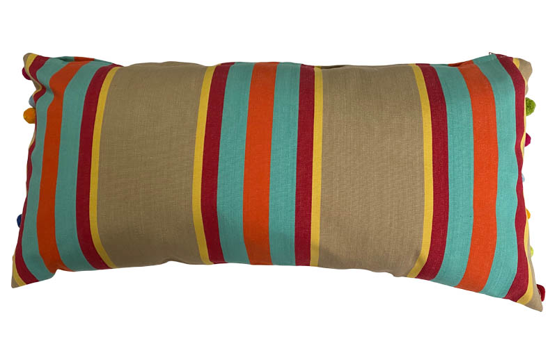 Vintage look striped oblong pompom cushions