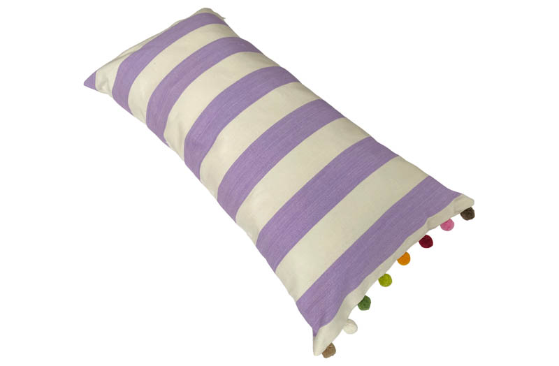 Purple and White Striped Oblong Cushions with Bobble Fringe