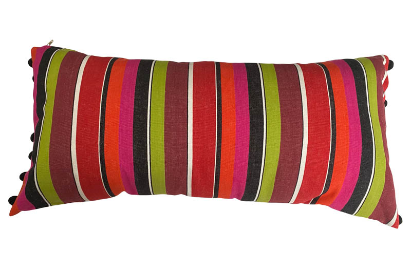 Pink, Black, Lime Green Striped Oblong Cushions with Bobble Fringe