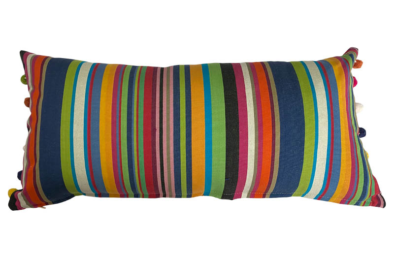 Multi Stripe Oblong Cushions with Bobble Fringe