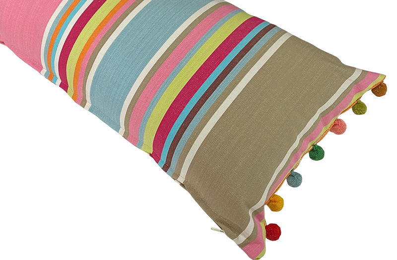Pink, taupe, blue - Striped Oblong Cushions with Bobble Fringe