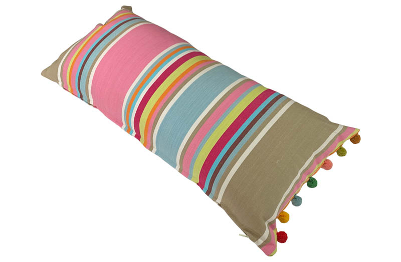 Pink, Taupe, Blue Striped Oblong Cushions with Bobble Fringe