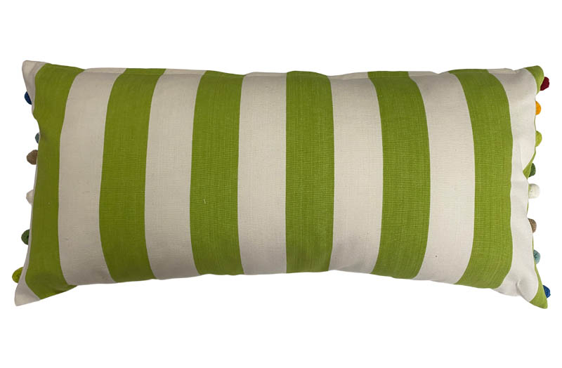 Lime Green, White Striped Oblong Cushions with Bobble Fringe