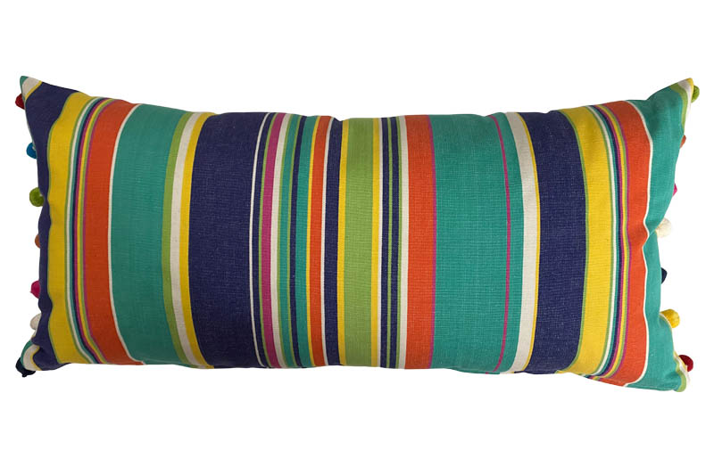 Turquoise, Pale Green, Royal Blue Striped Oblong Cushions with Bobble Fringe