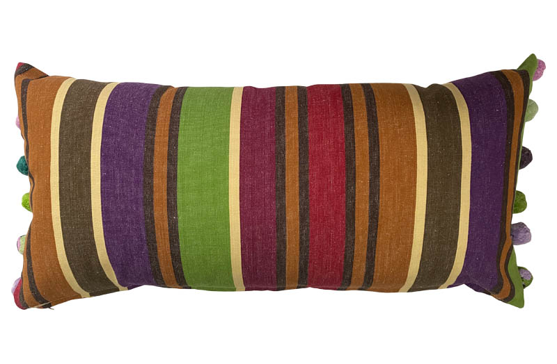 Caramel, Beige, Purple Striped Oblong Cushions with Bobble Fringe