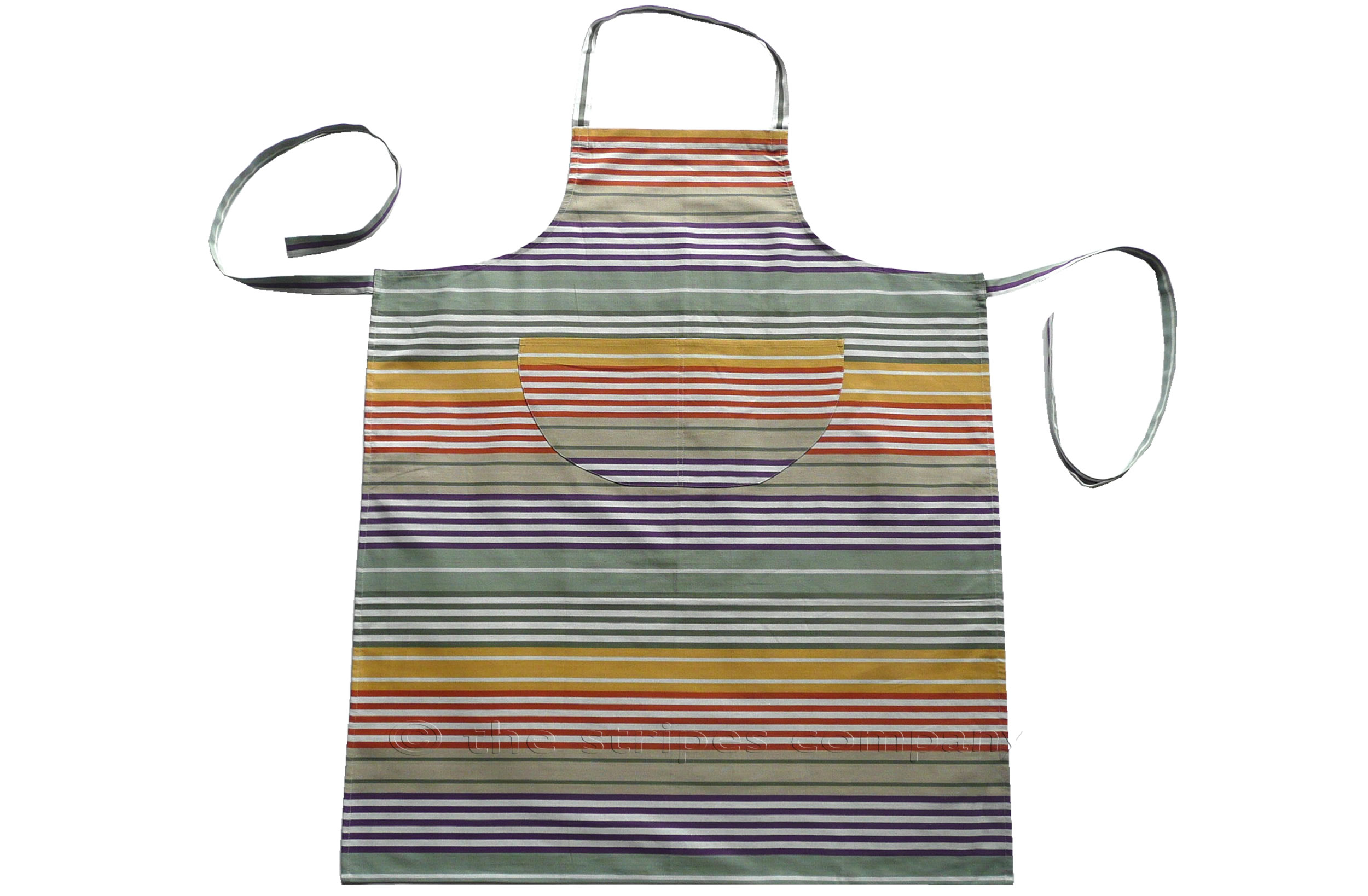 sage green, purple, mustard - Striped Cotton Aprons