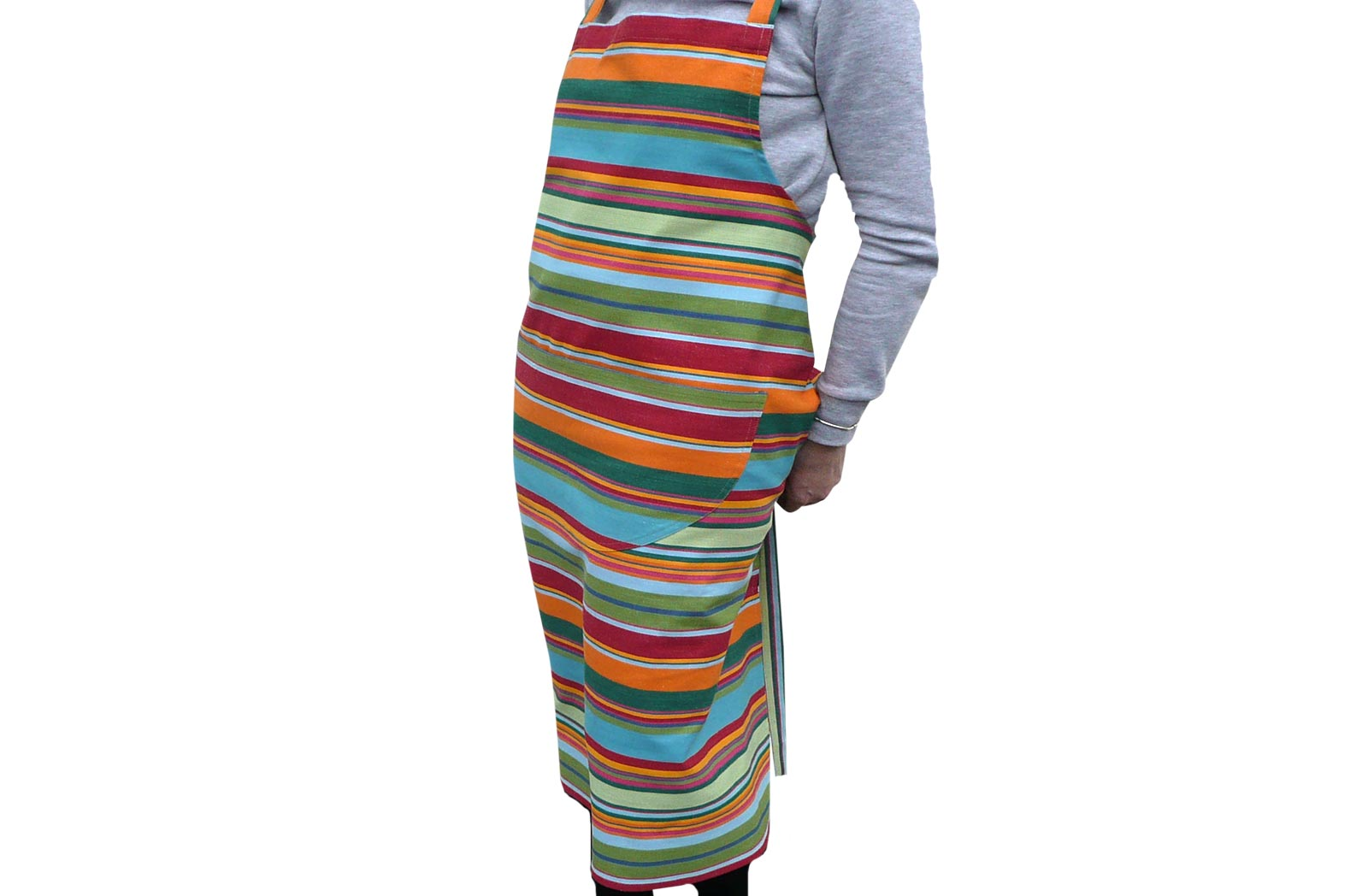 Green and Red Striped Apron