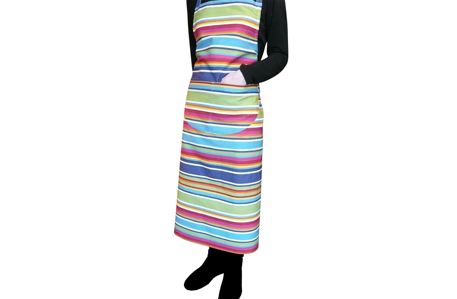blue, green, red - Striped Cotton Aprons