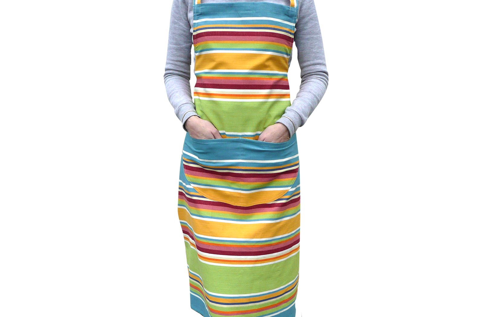 Striped Apron yellow, green, blue stripes