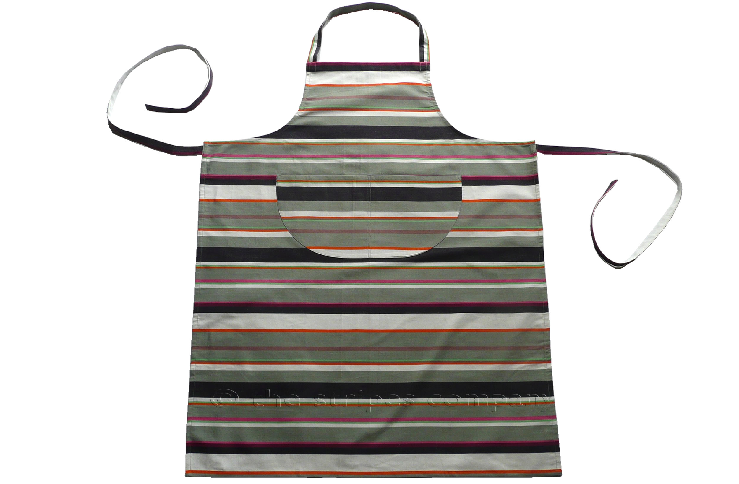 grey, white, lime - Striped Cotton Aprons
