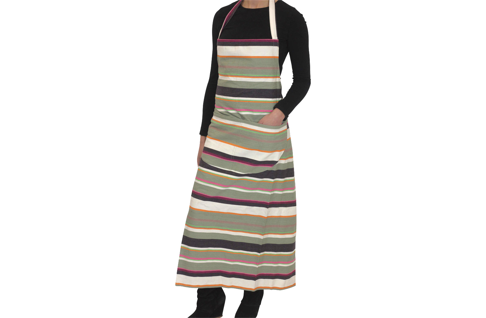 Grey Striped Aprons Grey  White  Lime  Stripes